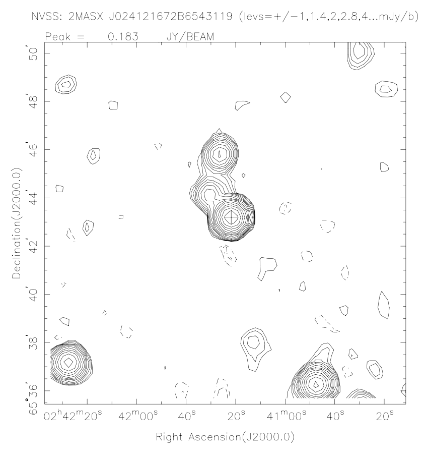 NRAO VLA Sky Survey (NVSS) image at 1.4 GHz of TXS 0237+655, which shows a double extended structure that could represent a MAGN candidate.