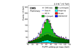 (Left) Softdrop jet mass of boosted W bosons in data and simulated samples of top pair production in the single lepton plus jets final state. (right) Pileup jet MVA discriminator in data and simulation for jets with