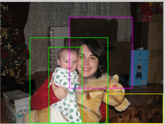 In the refinement stage, we formulate a multiple instance learning bag per image and bag instances correspond to each window proposals from selective search. Binary bag labels correspond to image-level annotations of whether the target object exists in the image or not. (Left) ground truth bounding boxes color coded with category labels. green: person, yellow: dog, and magenta: sofa, (Right) visualization of