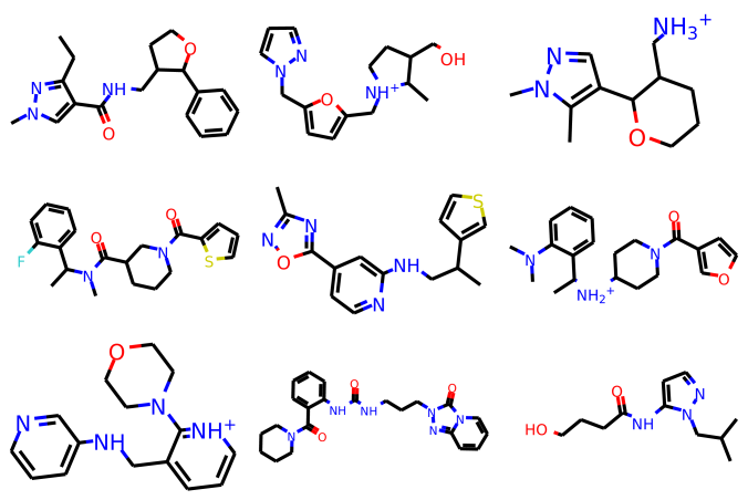 Examples of generated molecules from the model trained on drug like molecules (p13).