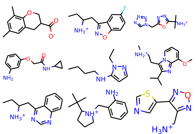 Examples of molecules generated from the model trained on the dataset with molecular fragments (p12).