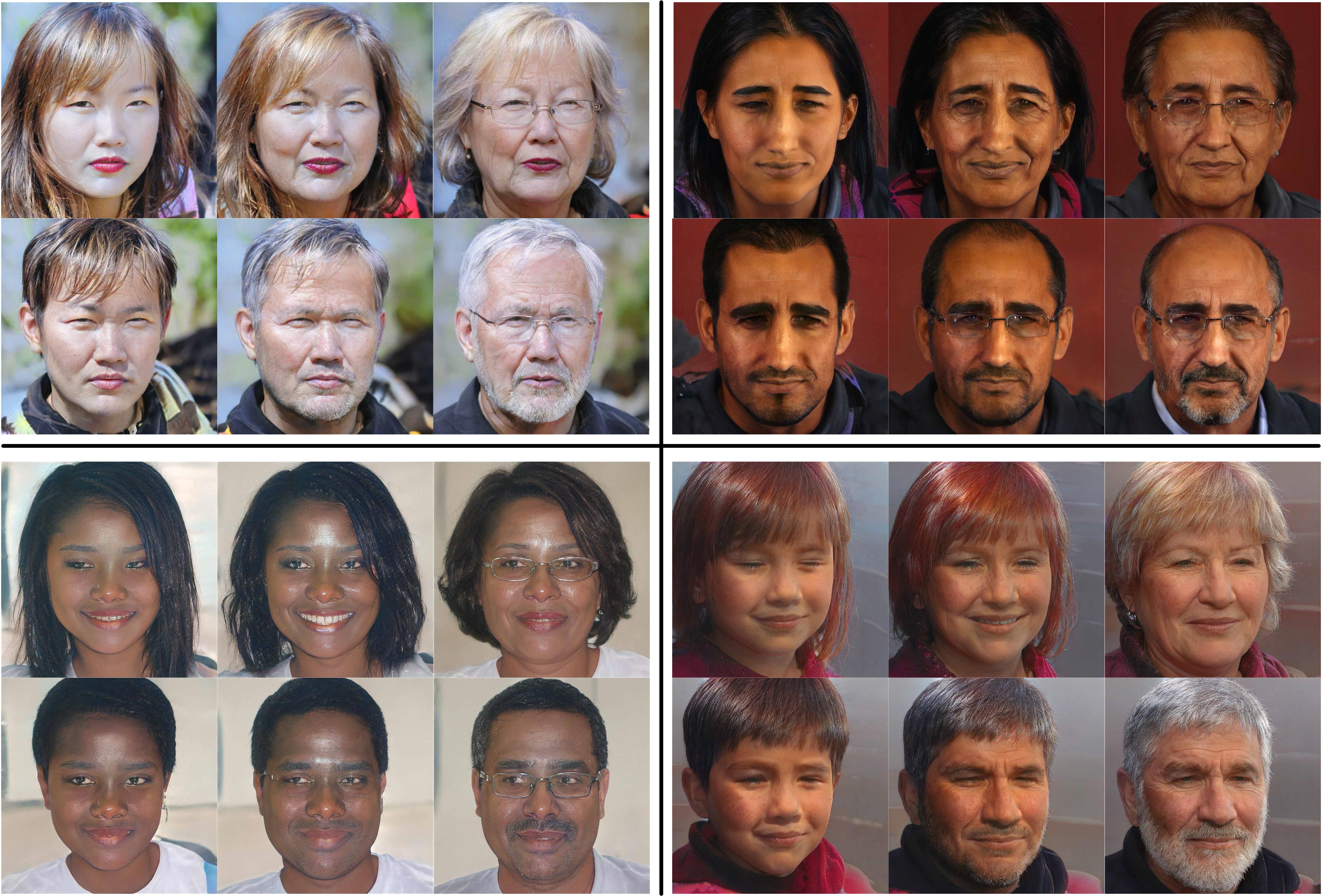 Some experimental results of the proposed method. We fix the random seeds when sampling factors under different semantic label value ranges. From the figure, we can see the age and gender features change naturally with inducing artifacts. At the same time, the proposed method well preserved other irrelevant features like identification.