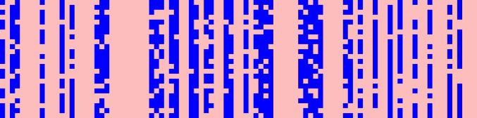Pruning patterns on SQuAD v1.1: blue is preserved, pink is pruned. Attention heads are delimited for clarity.