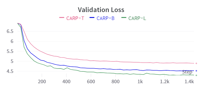 Validation Loss and Accuracy for CARP during training.