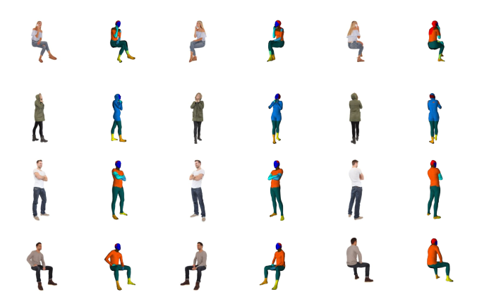 Examples of clothed human scans in different clothing, pose and camera views (