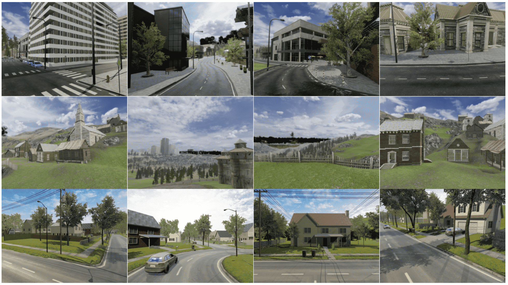 Samples from our simulated dataset in urban (top row), rural (middle row), and suburban (bottom row) areas.