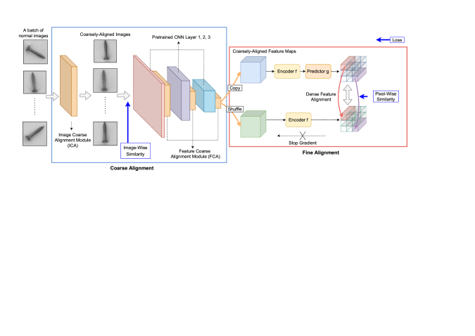 The whole architecture of the proposed approach. The coarse alignment module standardizes the image-wise and feature-wise correspondence among pixels, while the fine alignment module densely maximizes the similarity of these pixels in a batch. We train these two modules with non-contrastive learning method in an end-to-end manner.