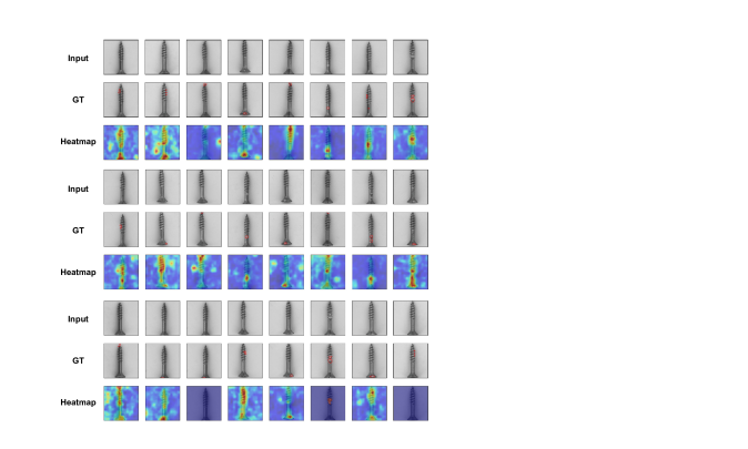 Anomaly localization on screw class of MVTec AD. From top to bottom, input images, those with ground-truth localization area in red, heatmaps predicted by our model.