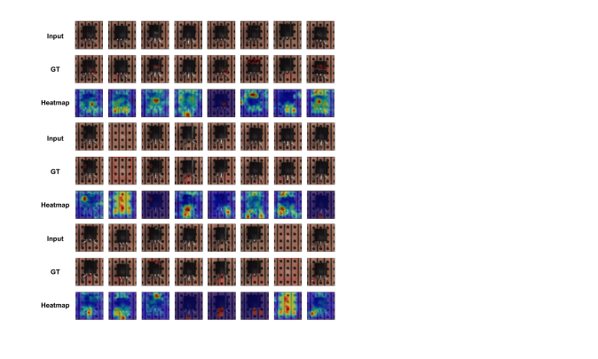 Anomaly localization on transistor class of MVTec AD. From top to bottom, input images, those with ground-truth localization area in red, heatmaps predicted by our model.