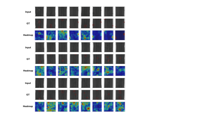 Anomaly localization on zipper class of MVTec AD. From top to bottom, input images, those with ground-truth localization area in red, heatmaps predicted by our model.