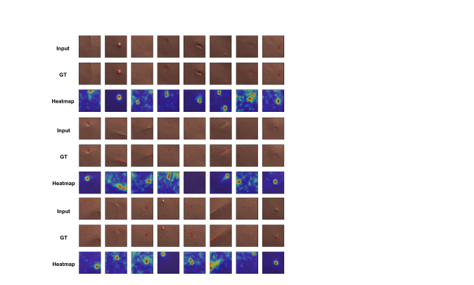 Anomaly localization on leather class of MVTec AD. From top to bottom, input images, those with ground-truth localization area in red, heatmaps predicted by our model.