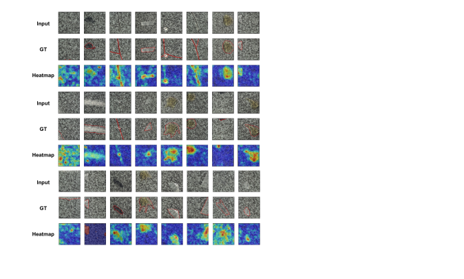 Anomaly localization on tile class of MVTec AD. From top to bottom, input images, those with ground-truth localization area in red, heatmaps predicted by our model.