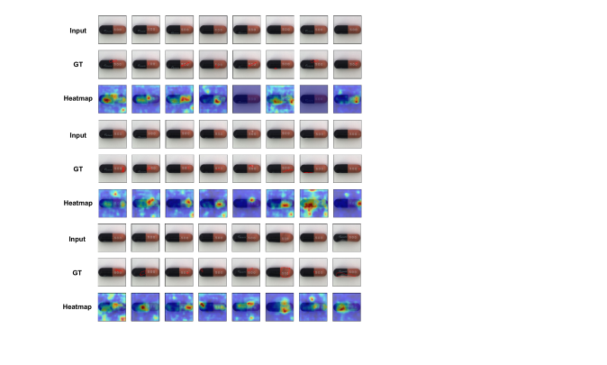 Anomaly localization on capsule class of MVTec AD. From top to bottom, input images, those with ground-truth localization area in red, heatmaps predicted by our model.