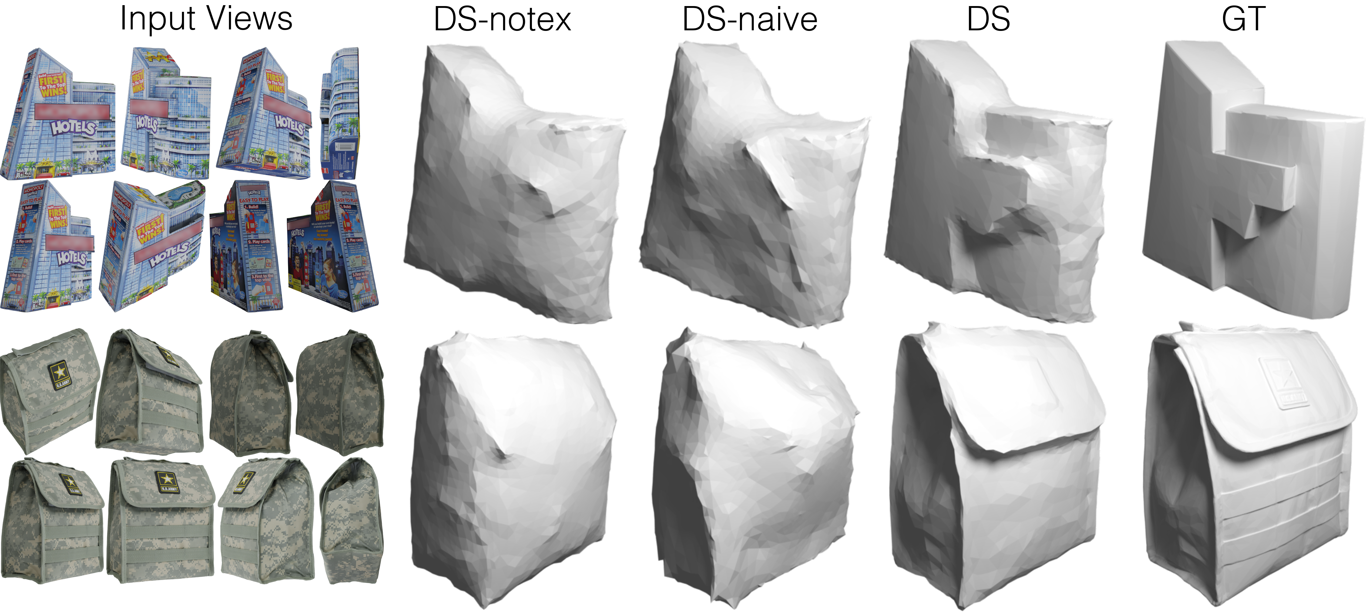 DSwithout texture (DS-notex), DS-naive and DSwith