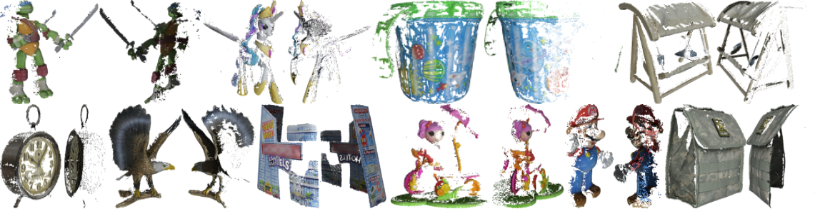 COLMAP-reconstructed dense pointclouds with 8 input views and ground-truth cameras for objects in the Google Scanned Objects Dataset.