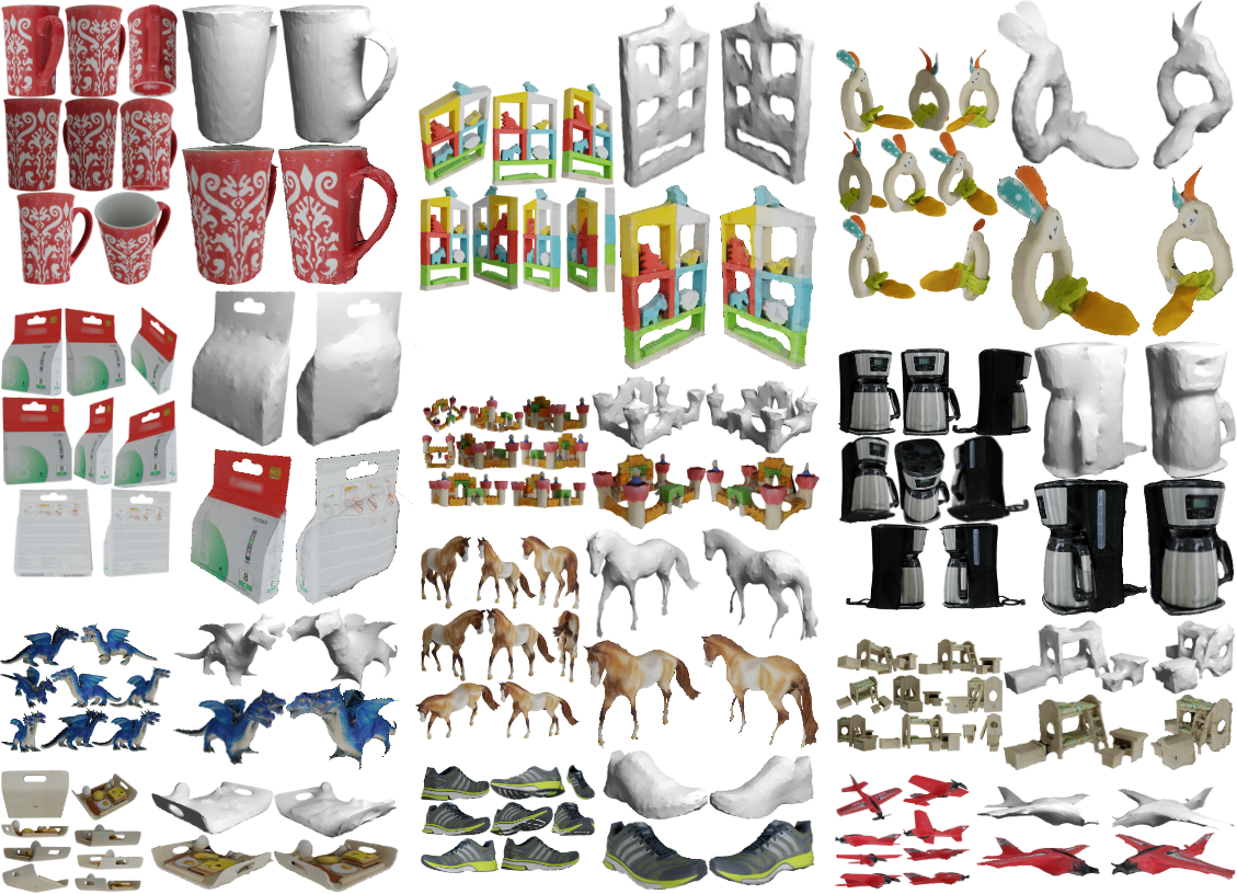 Qualitative shape and texture reconstructions by DS using 8 views and