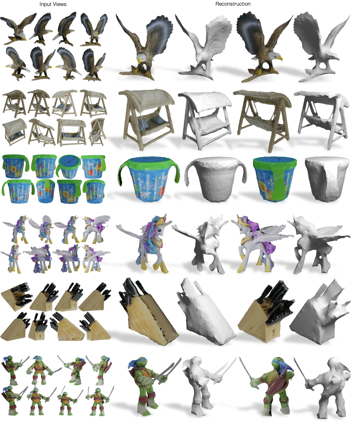 Qualitative results of DSon Google's Scanned Objects with