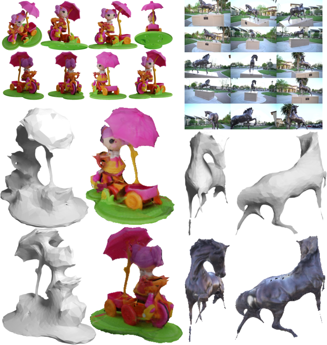 Reconstructions with Differentiable Stereopsis (DS) from few input views and noisy cameras. We show input views (top) and novel views of reconstructions (bottom).